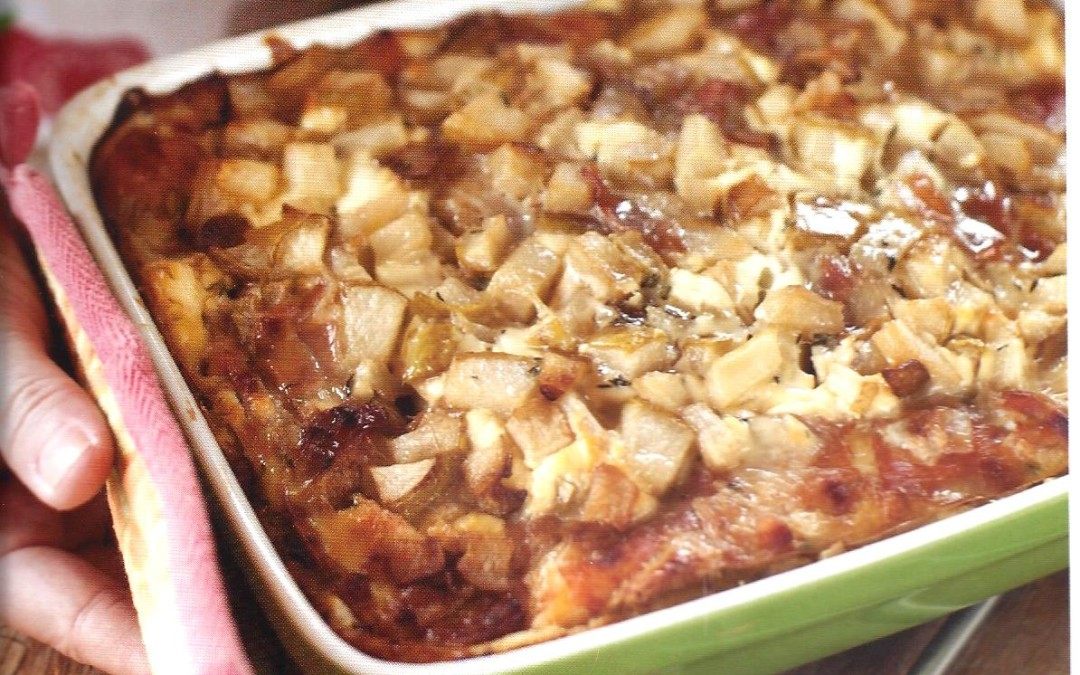 Goat Cheese, Pear and Proscuitto Strata Recipe