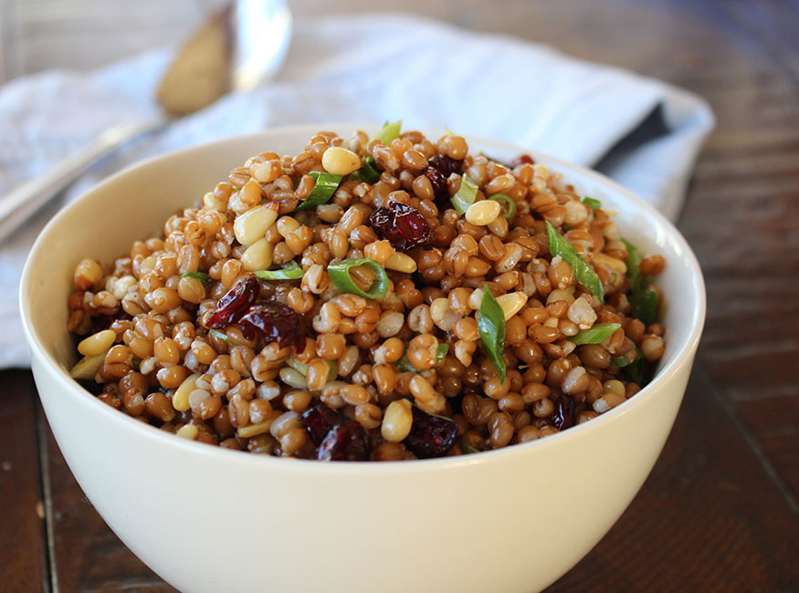 Wheat Berry Salad with Dried Cranberries and Pine Nuts