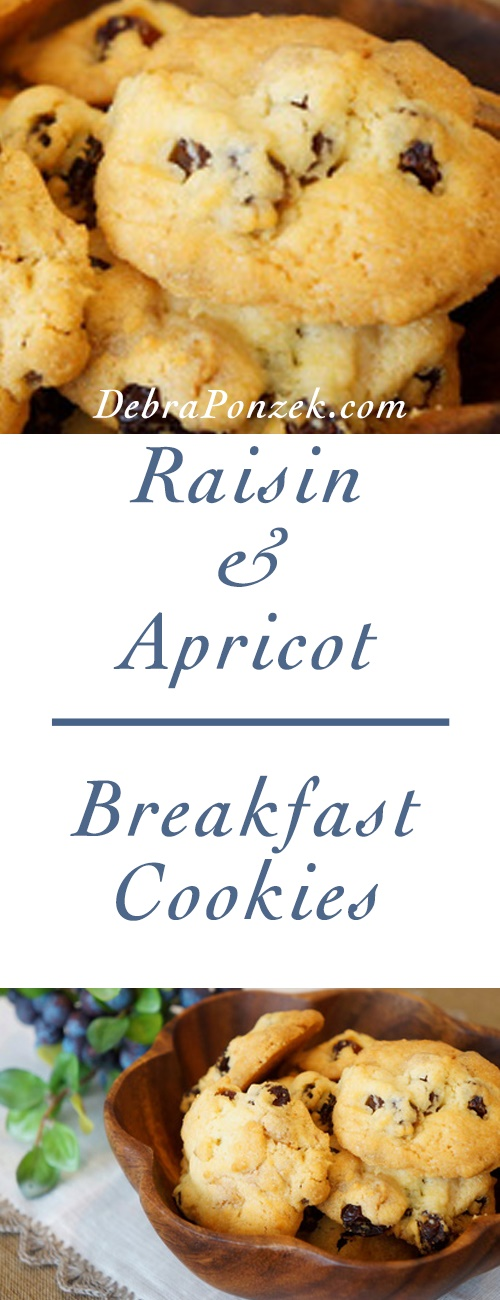 I love this recipe for my raisin and apricot breakfast cookies because they are filling with oats and fruit and they offer a healthy, yet fun, twist on a recipe that can fill in any snack gap of the day.