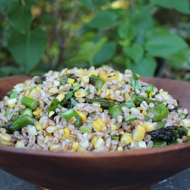 Make Ahead Meals: Farro Salad with Corn and Asparagus