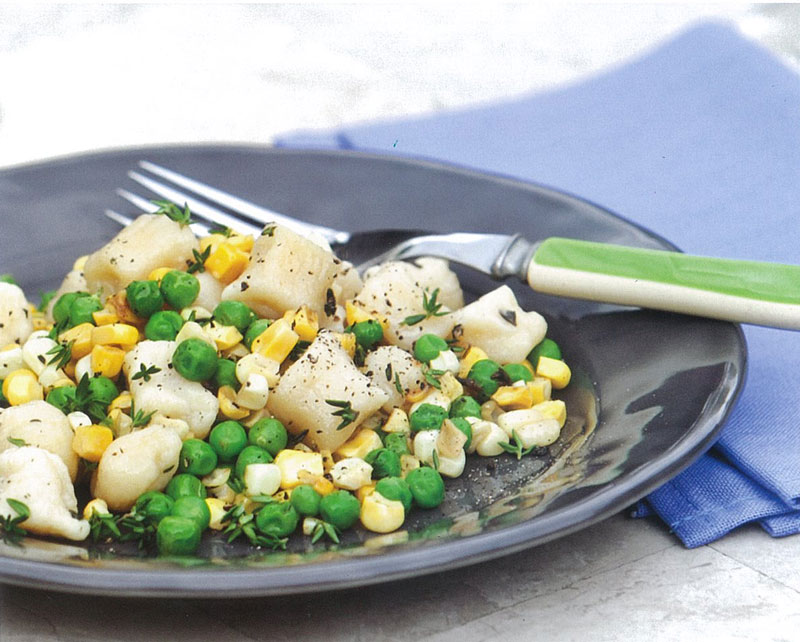 Make Ahead Ricotta Gnocchi With Corn and Peas