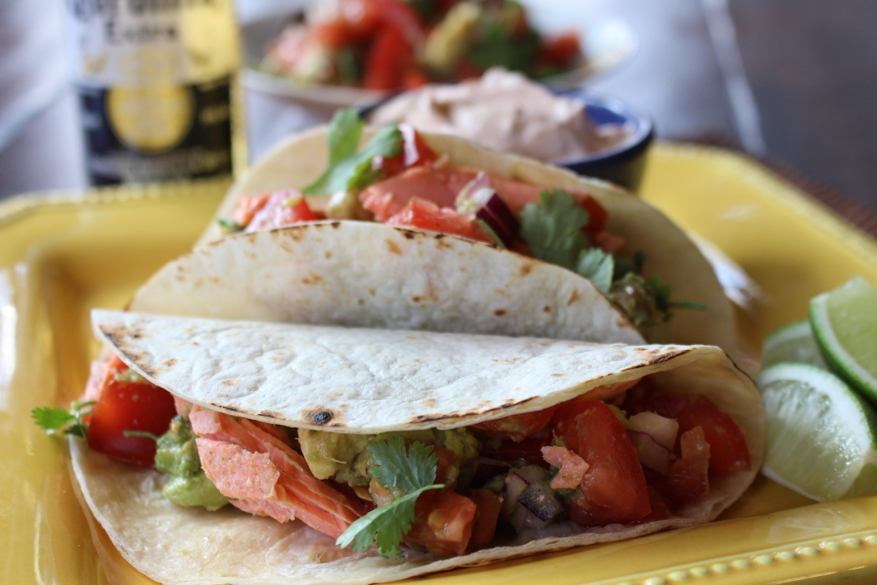 Salmon Taco With Corona