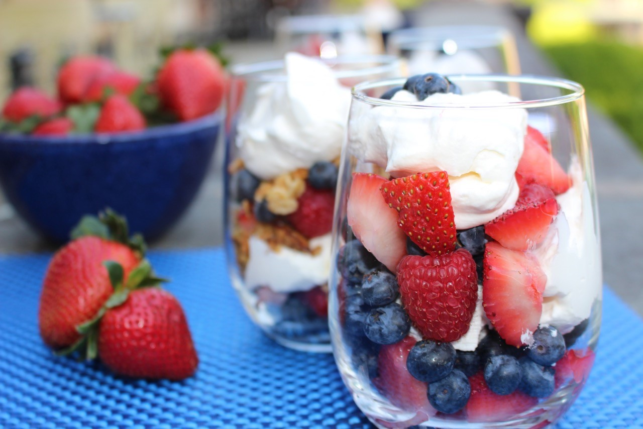 Red White and Blue Fruit Parfait Backyard Party Recipes