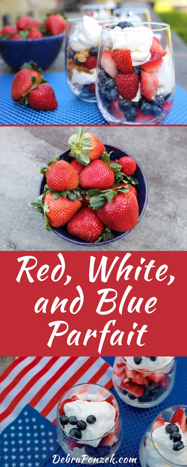 Enjoy a great breakfast, an easy to make dessert, a patriotic snack on or around the Fourth of July, a Red White and Blue Fruit Parfait recipe.