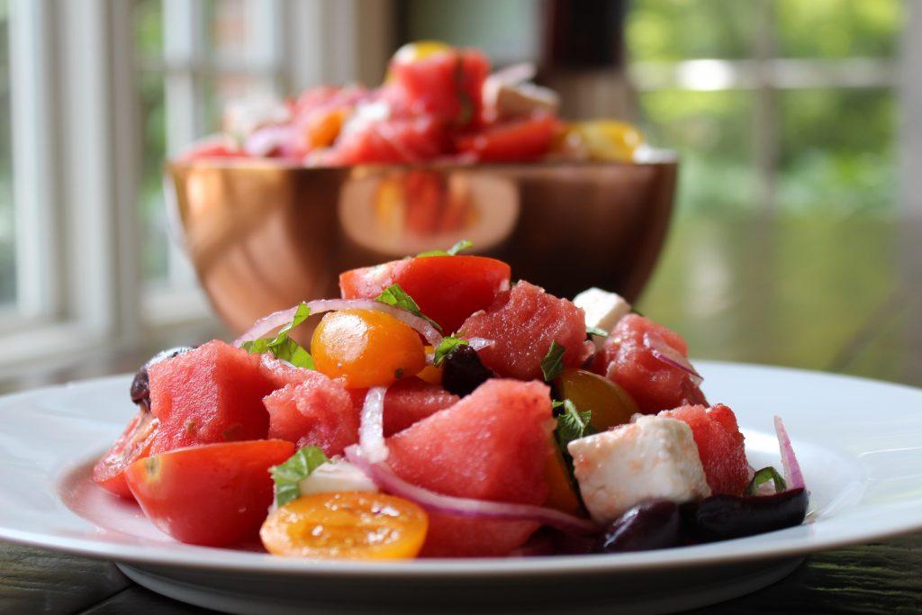 Watermelon Feta Salad Plated