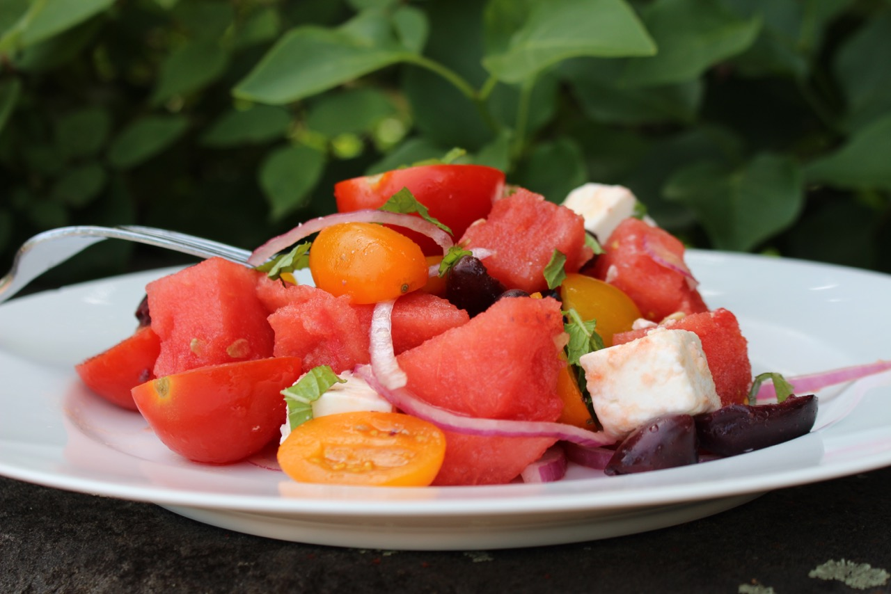 Watermelon Feta Salad Plated Outdoors