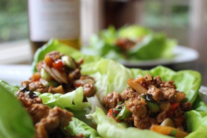 Asian Chicken Lettuce Wraps Platter