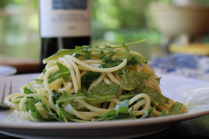 Spaghetti With Arugula and Parmesan Salad Recipe